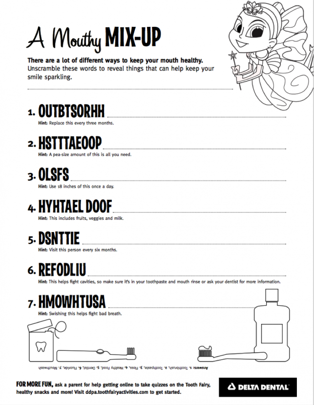 Mouthy Mix Up Worksheet - Delta Dental of Colorado