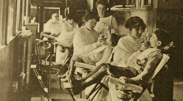 Photo from: Mouth hygiene, a course of instruction for dental hygienists; a text-book containing the fundamentals for prophylactic operators, comp. by Alfred C. Fones. 1916