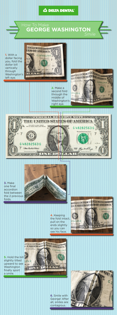 Grab a dollar bill and turn Washington's frown upside down with this quick and easy dental-themed craft