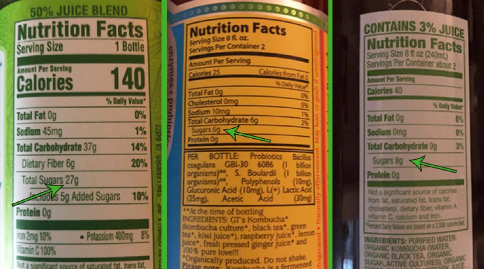 The sugar content in kombucha varies quite a bit depending on the brand. These three brands have 27 grams of sugar per serving, 6 grams of sugar per serving, and 8 grams of sugar per serving