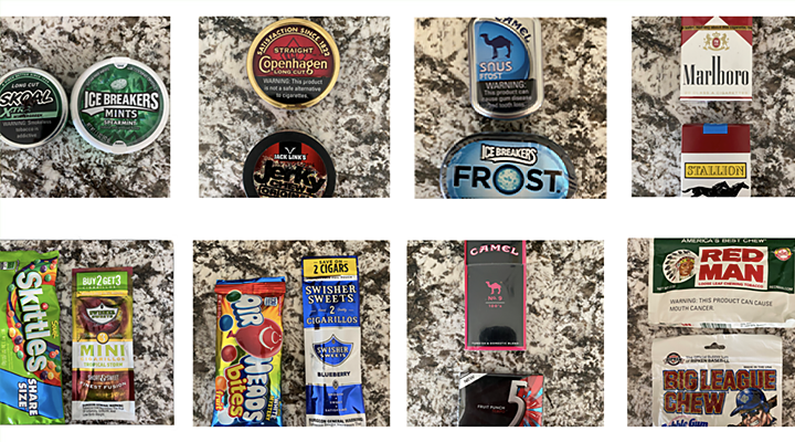 Another row of candy and tobacco product packaging is showed and compared side by side to show the distinct similarities between their packing, colors, and overall look.